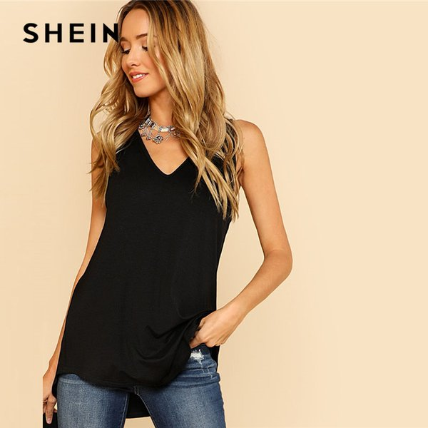 Shein V Neck Dolphin Hem Tank Top Black Asymmetrical V Neck Women Plain Vest 2018 Summer New Clothes Casual Long Top Vest Y190123