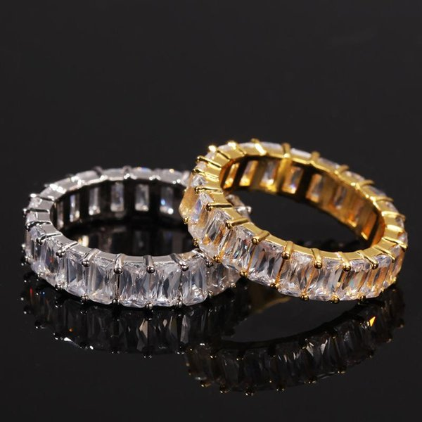 8-Row Micro Pave Gold Crystal Eternity Stainless Steel Ring Size 10
