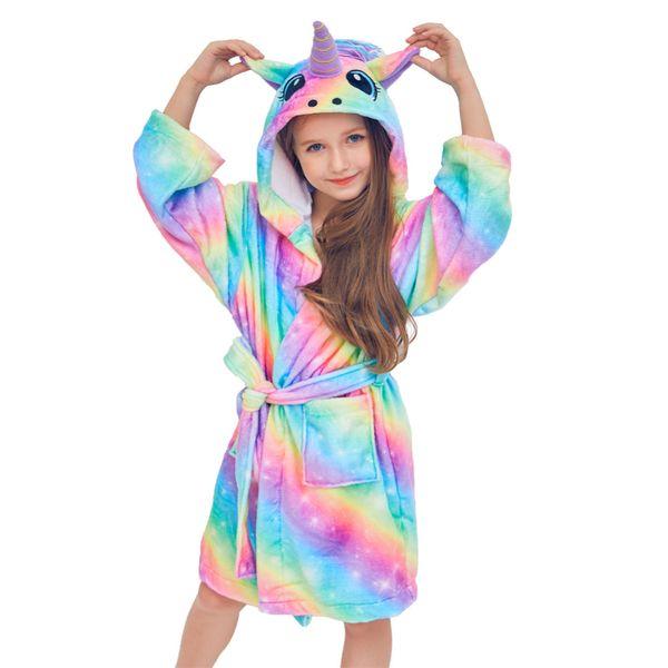 Autumn Winter Cute Rainbow Bathrobes for Girls Pajamas Unicorn Pattern Hooded Towel Rope for Boys Warm Sleepwear Children