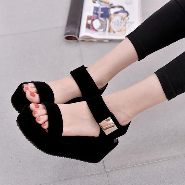 2019 Verano nueva moda coreana sandalias de mujer muffin fondo grueso tacón alto cuñas boca de pescado zapatos de marea romana al aire libre