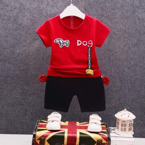 good quality summer boys clothing set cotton kids clothes children t-shirt+shorts 2pcs tracksuit set cartoon dog child sport suit