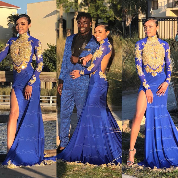 Blue and Gold Prom Dresses 2019 Mermaid High Neck Long Sleeve Key Hole Bust Open Back Split Evening Gowns Cocktail Party Dress Formal Gown
