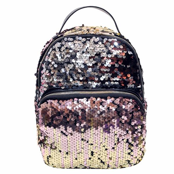 Mini PU+Sequins Backpack Women School Bags Princess Bling Backpack Bag All-match Small Travel Sequins Feminina