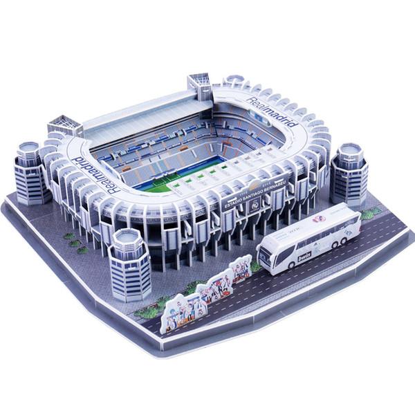 Clássico Modelos Jigsaw 3D Puzzle Santiago Bernabeu Concorrência Estúdios de Futebol DIY Tijolo Brinquedos Educativos Conjuntos de Escala Papel