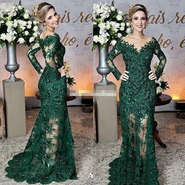 Hunter Green Sheer Neck Mermaid Evening Dresses with Lace Sequins Long Sleeve Prom Dress Custom Red Carpet Dress Formal Gowns