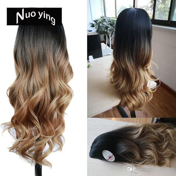 Long Wavy Wig Ombre Brown Blonde/Grey High Density Heat Resistant Synthetic Hair Wig For Black/White Women Cosplay/Party