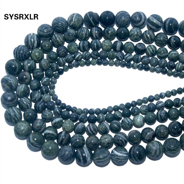 Wholesale Natural Stone Green Zebra Round Loose  For Jewelry Making DIY Bracelet Necklace Material 4 6 8 10 12 MM Strand