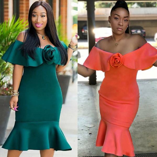 Women Ruffles Off Shoulder Dress 3D Rose Peplum Hem Slash Neck Mermaid Dress Nightclub Party Bodycon Slim Mid-calf Dress Green