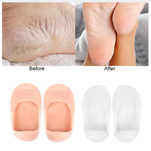 Compre Plantilla De Silicona Calcetines Hidratantes Tacones Protector Anti Crack Calcetines De Spa Para Pies Zapatos De Gel Plantillas Cuidado De Pies