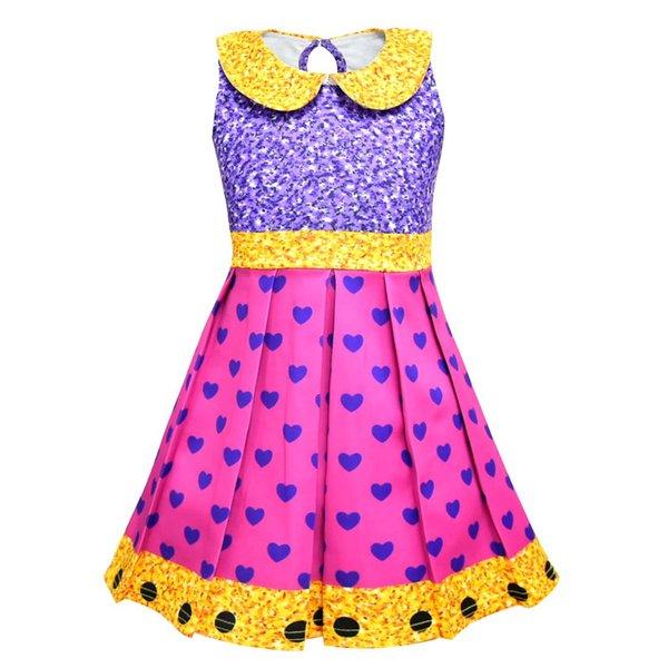 Girls Surprise Princess Dress Stage Show Cosplay Costume Birthday Party Gifts Children Cartoon Sleeveless Summer Dresses Princes Kid Dancer