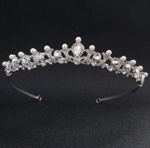 Baroque Noiva Coroa Mantilha Artesanal Broca Pérola Cabelo Hoop Casamento Ornamento Do Cabelo