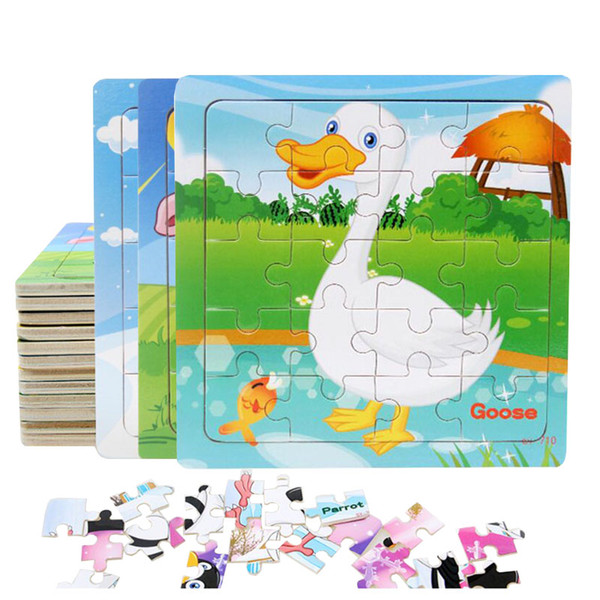 best selling Hot Sale 9 20 Slice Small Piece Puzzle Toy Children Animals and Vehicle Wooden Puzzle Jigsaw Baby Educational Toys for Kids Gift