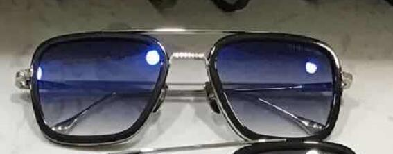 black silver with blue lens