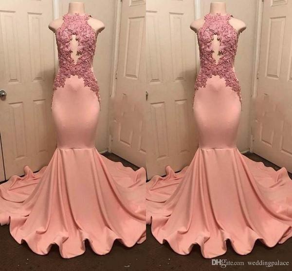 High Neck Mermaid Prom Kleider mit Schlüsselloch-Rücken Graceful Girls Sexy Sleeveless Plus Applique High Neck Mermaid Party Abendkleider