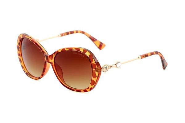 Vintage Oval Çerçeve Güneş Kadınlar Lüks Tasarımcı Elmas Güneş gözlükleri Yaz 2019 Kadın Lüks Altın Çerçeve Sunglass Leopar 5302