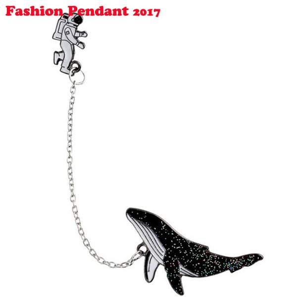 Punk Astronaut Whale Lapel Pin Spaceman Dolphin Pendant Pins and Brooches Sparkling Chic Fashion Pin Badge Pins Metal