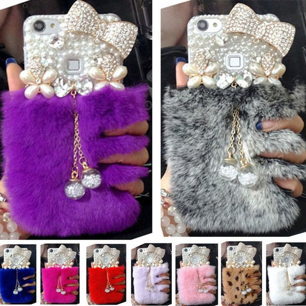 Luxury gem Bling Fox Rabbit Plush Fur Pearl Bowknot Back Cover Case for iPhone X 5S 5C 6 6PLUS 7 7PLUS 8 8PLUS Tassel Pendant