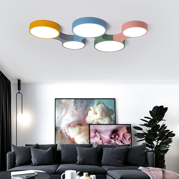 Modern Led Ceiling Light Dimmable Remote Control Lustre Ultra thin 5cm Macaron Ceiling Lights Fixtures For Kids Room Bedroom - I80