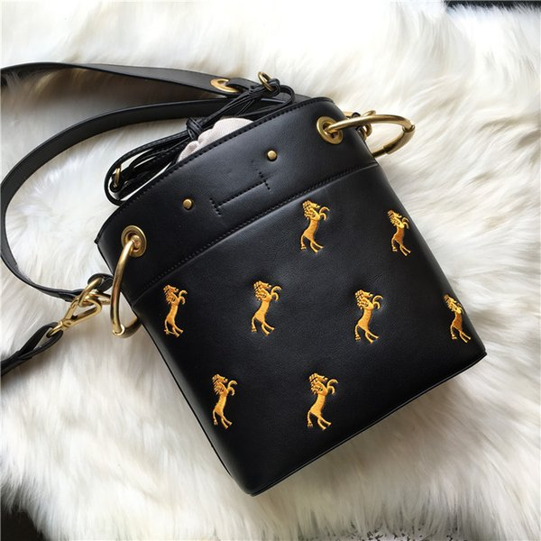 Elegant2019 Woman Package Bucket Embroidery Pony Width Straps Single Shoulder Span Portable Small Bag