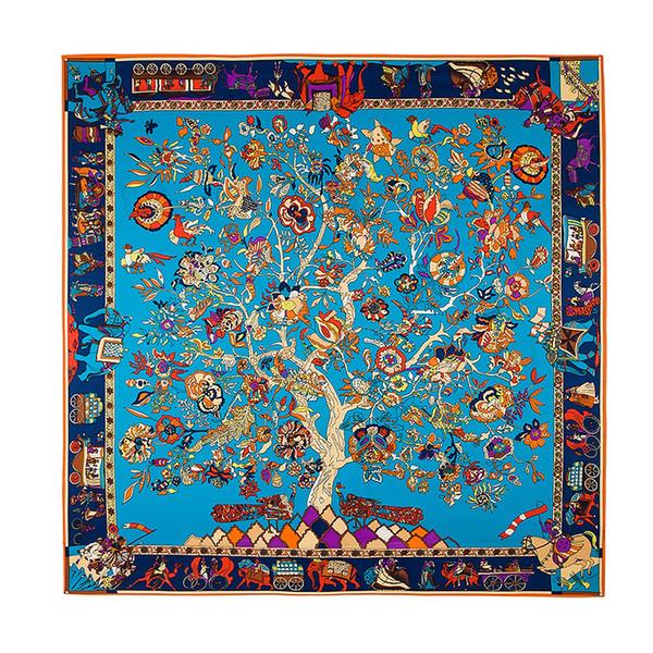 French square tree flower print scarf designer brand luxury women's H shawl Foulard Femme blue large twill silk scarf straight row 130 * 130