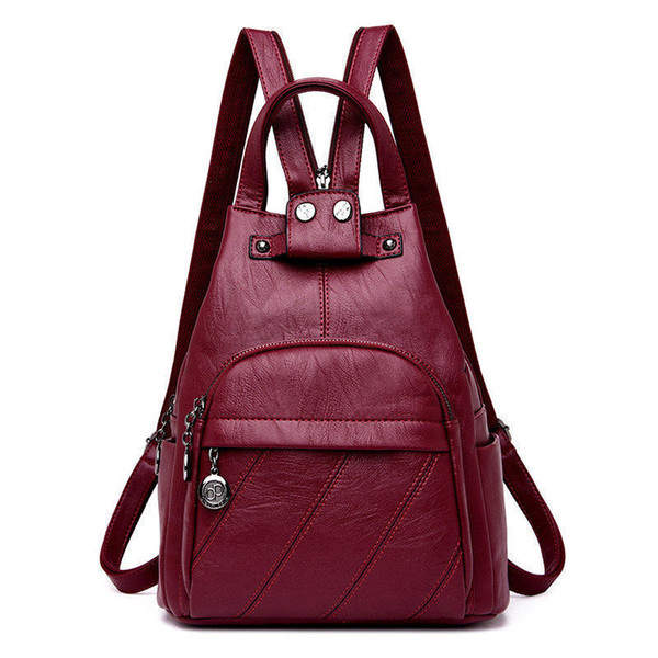 Korean Style Woman Back Pack Leather Womans Backpacks School Bag For Girl Satchel Backpack Sac A Main Femme Nouvelle Collection