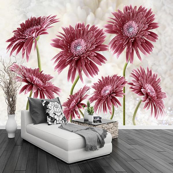 Moderne Minimaliste Pastorale Fleur Art Grande Murale Non-tissé Papier Peint Salon Chambre Restaurant Personnalisé Photo Papier Peint 3D