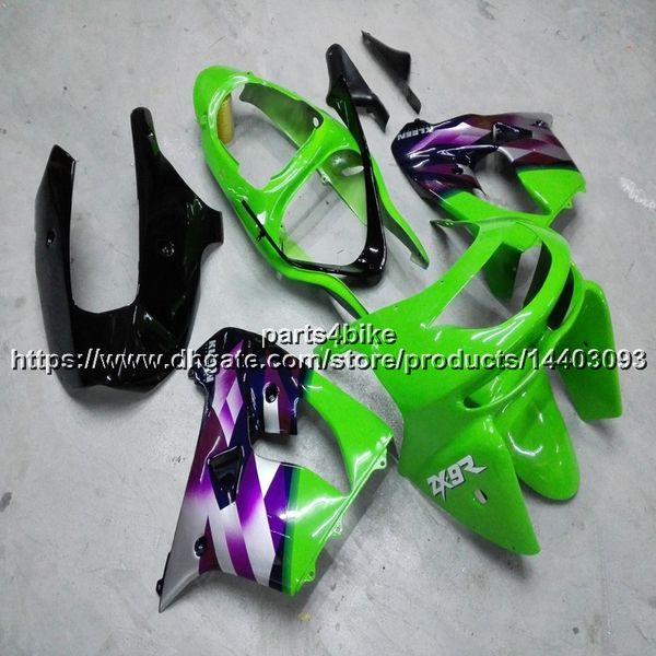 Custom + 5Gifts carena moto verde viola per Kawasaki ZX9R 2000 2001 ZX-9R 00-01 ZX 9R carena moto plastica ABS