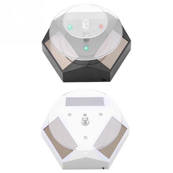 New 360 Rotating Solar Power Showcase LED Light Jewelry Box Ring box Turntable Watch Phone Jewelry Ring Display Stand