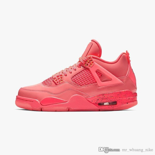 Cheap mens retro 4s basketball shoes j4 premium for sale hot punch pink red Pale Citron youth kids jumpman IV sneakers tennis with box