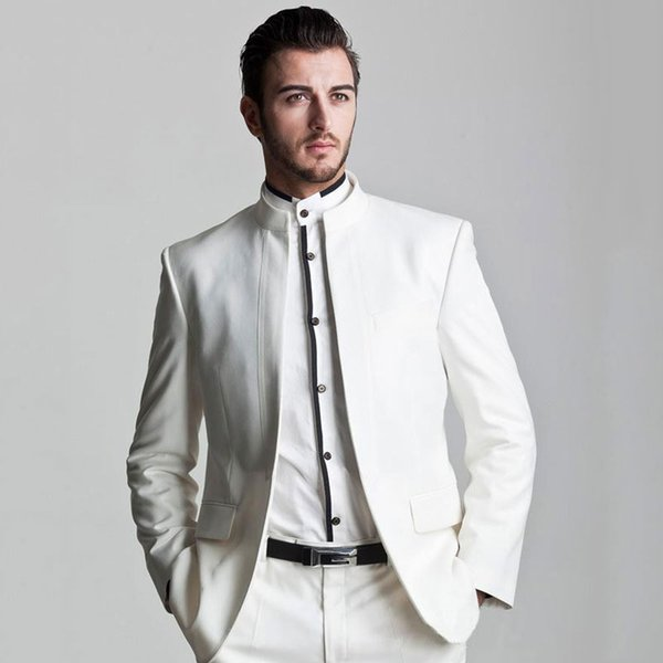 Stand Collor Italian White Men Suits for Wedding Terno Masculino 2Piece(Jacket+Pants)Groom Tuxedos Suits Best Men Blazers Costume Homme
