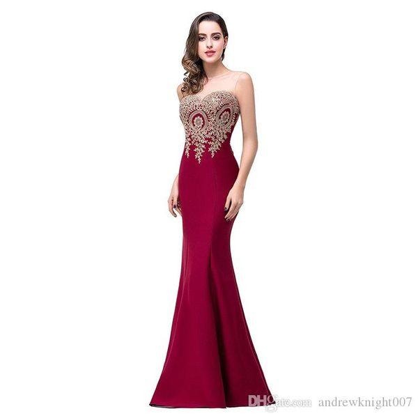 Sirène Sheer Neck Bourgogne satin pas cher longue robes de soirée robe de Noël Robe de soirée Party robe de soirée Robe DK0547BK
