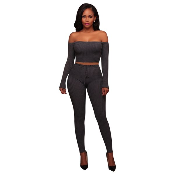Joemel Jumpsuit American Standard Code collar sweater sweater set cotton Autumn sexy women's high-elastic one-shoulder pit multi-color sport