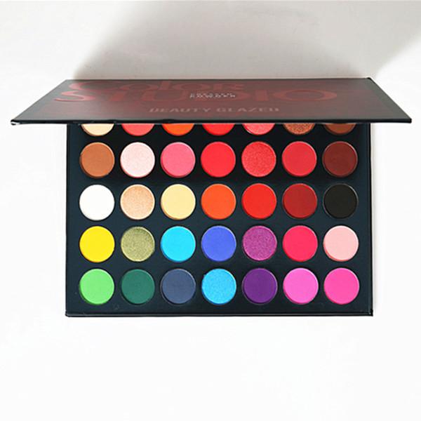 Mejor vendedor Dropshipping Belleza Esmaltado 35 Tonos de color Maquillaje de estudio Paleta de sombra de ojos Resaltador Brillo Maquillaje Pigmento Sombra de ojos Paleta
