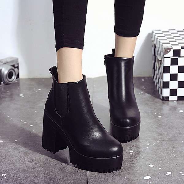 fashion women boots square heel platforms zapatos mujer pu leather thigh high pump boots motorcycle shoes