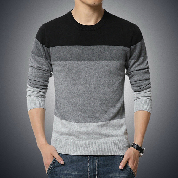 2019 automne et pull-over Pull-over pull col rond hommes hiver pull hommes mince rayé M-3XL clo