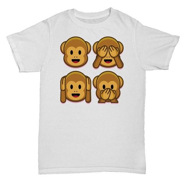 MONKEY EMOJI EMOTICON SMILY FACE COOL INSPIRIERT RETRO CULT LUSTIGES TUMBLR T-Shirt Jersey Druck T-Shirt Markenhemden Jeans Druck