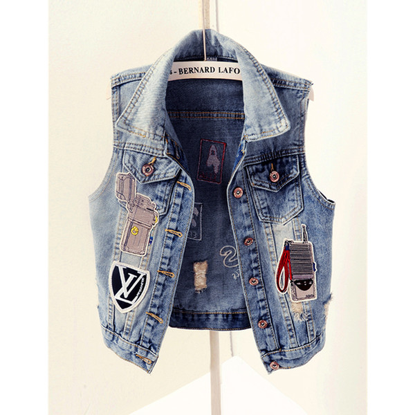 Spring new arrive cartoon lovely patch designs street holes street short denim vest outerwear top Women Denim Coats Sleeveless Vests