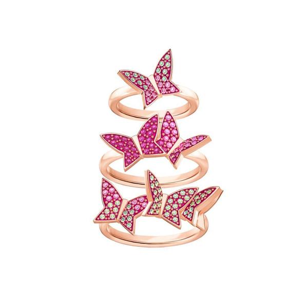 SWA 2019 [Yeni] MINA BEA Moda Güzel Kelebek Modeli Tri-Ring Set Zarif Kadın Çift Hatıra Takı Hediye 5409020