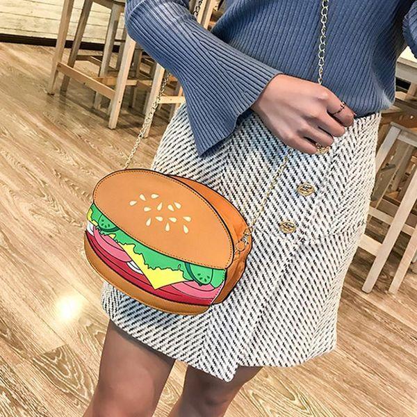 Cute Chain Crossbody Bag Funny Cartoon Burger Fries Popcorn Shape Shoulder Women Mini Mobile Phone Hand Bags Fashion Change Bag