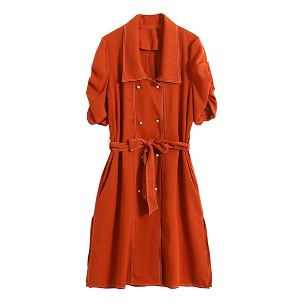 Women Trench Coat Spring Autumn 2019 Double Breasted Turn Down Collar Long Fashion Casual Outwear Coats Windbreaker Short Sleeve