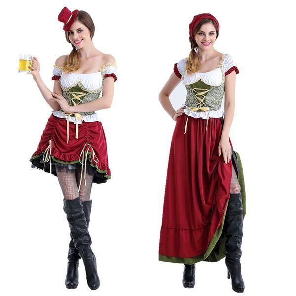 Compre Oktoberfest Beer Girl Traje Boate Bar Trabalho Empregada De Mesa Uniforme Mulheres Halloween Carnaval Partido Fancy Dress Vestido Da Empregada
