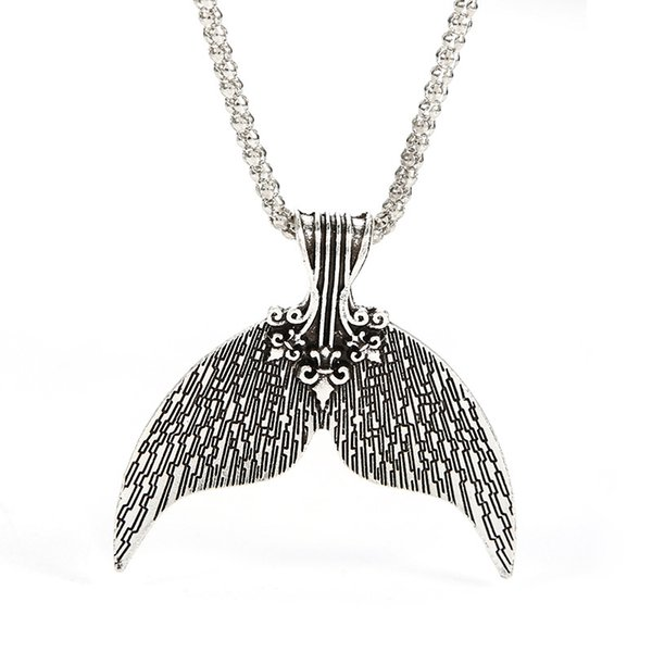 Bohemian Mermaid Tail Pendant Necklace Antique Silver Color Collar for Women Boho Jewelry Whale Mermaid Tail Charm Chokers Necklaces