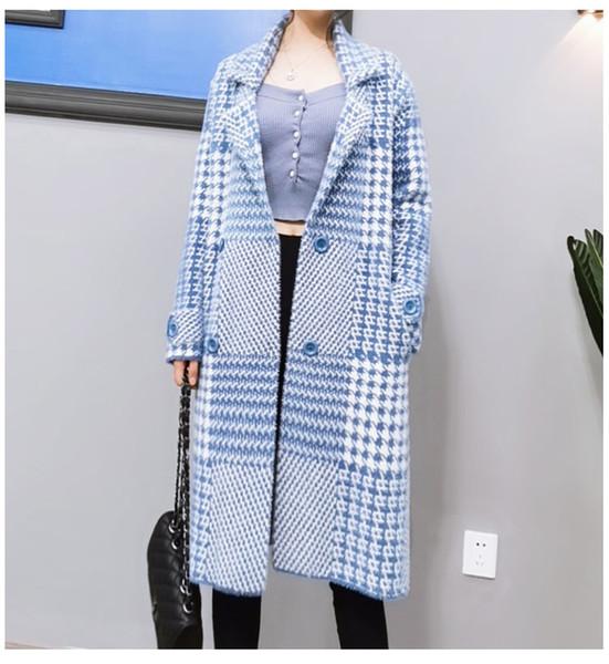 2019 Outono Inverno das Mulheres Casaco Longo Trench Kniting Pesados Casacos Azul Senhora Escritório Desgaste