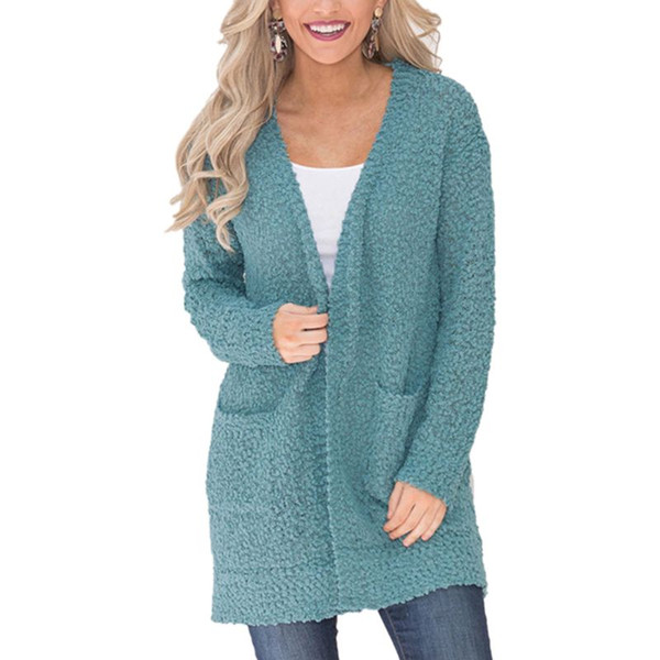 Womens Winter Autumn Thickened Faux Fur Long Sleeve Coat Open Front Solid Candy Color Cardigan Chunky Knit Loose Fit Casual