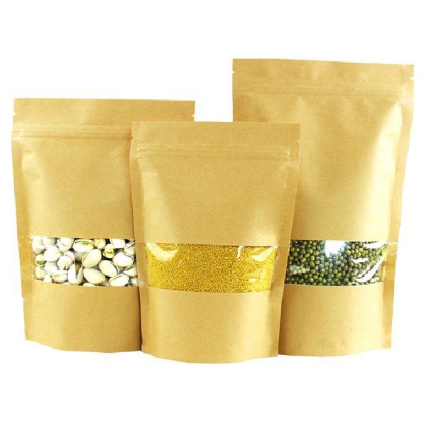 Brown Stand-up Kraftpapier Window Bag Doypack Geschenk Trockenfutter Früchtetee Verpackungsbeutel Reißverschluss PE Self Sealing Bags