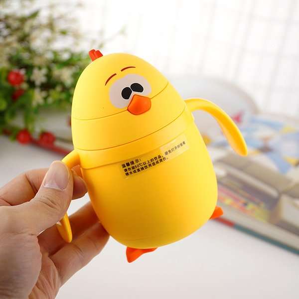 200ml Thermos Cup Cartoon Chick Thermo Mug Drinkware Kids Water Bottle Stainless Steel Child Vacuum Flask cup Tumbler leak-proof