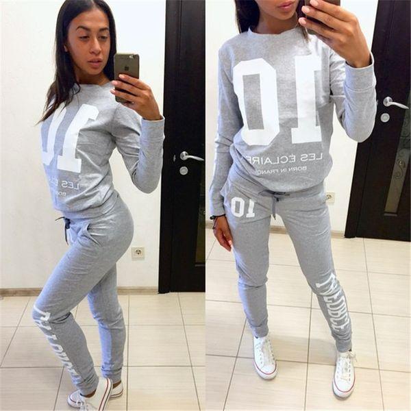2018 Nouvelle Automne Femmes Survêtement Noir Gris À Manches Longues Hoodies Sweatshirts Deux Pièces Ensemble Lettre Imprimé Femmes Pantalons Survêtements