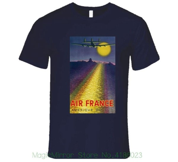 Air France, das nach Südamerika-T-Shirt geht Lose Baumwollt-shirts für Männer kühle Obert-shirts