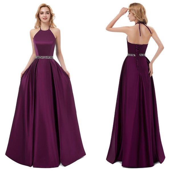 Purple Prom Dresses Evening Gowns Long A-Line Halter Lace Up Crystal Beaded Satin Floor Length Sexy Formal Dresses 2019 Custom Made
