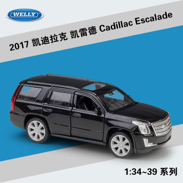 welly diecast car model toy, 2017 cadillac escalade suv with pull back, 1:36 high simulation, kid birthday gift, collecting, home decoration